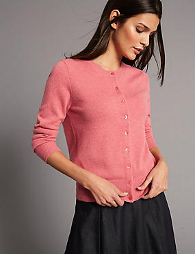 Pure Cashmere Button Through Cardigan, LIGHT RASPBERRY, catlanding