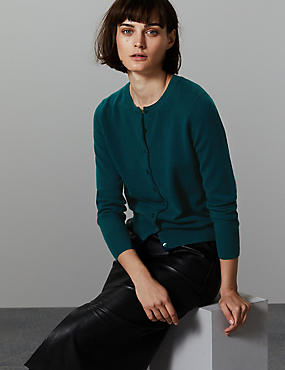 Pure Cashmere Button Through Cardigan, DARK EVERGREEN, catlanding