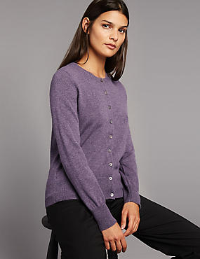 Pure Cashmere Button Through Cardigan, , catlanding