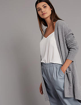 Pure Cashmere Split Back Cardigan, MID GREY, catlanding