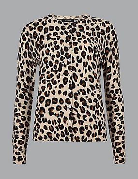 Pure Cashmere Animal Print Cardigan, CAMEL MIX, catlanding