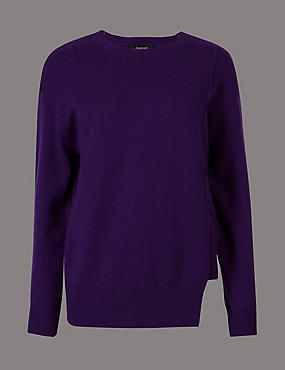 Pure Cashmere Step Hem Round Neck Jumper , PURPLE, catlanding