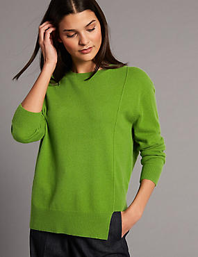 Pure Cashmere Step Hem Round Neck Jumper