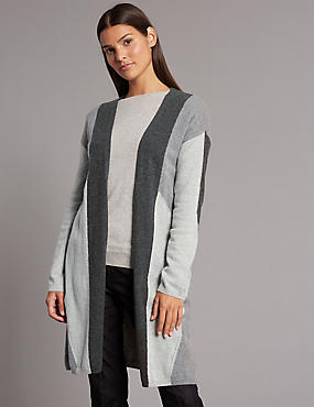 Pure Cashmere Colour Block Longline Cardigan