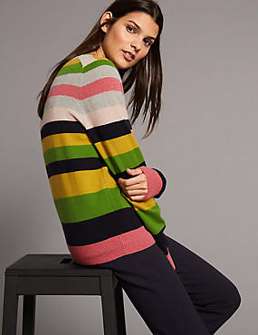 Pure Cashmere Striped Round Neck Jumper, GREY MIX, catlanding
