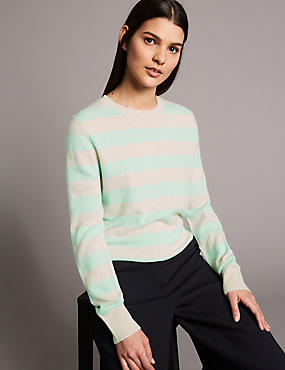 Pure Cashmere Striped Round Neck Jumper , JADE MIX, catlanding