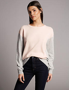 Pure Cashmere Oversized Colour Block Jumper, GREY, catlanding