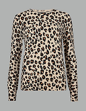 Pure Cashmere Animal Print Jumper , CAMEL MIX, catlanding