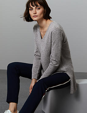 Pure Cashmere Textured Longline Jumper, MID GREY, catlanding
