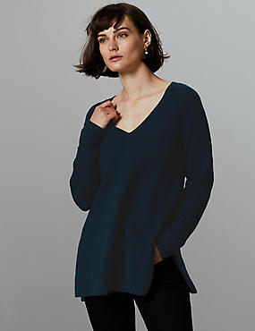 Pure Cashmere Textured Longline Jumper, NAVY, catlanding