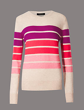 Pure Cashmere Colour Block Jumper, PINK MIX, catlanding