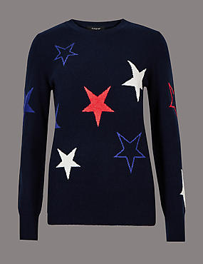Pure Cashmere Embroidered Long Sleeve Jumper, NAVY MIX, catlanding