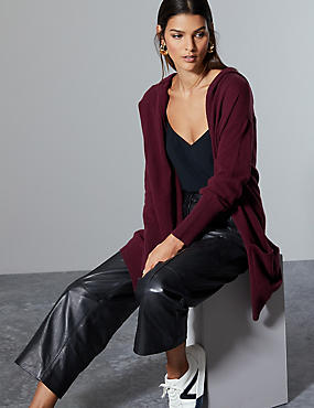 Pure Cashmere Hooded Cardigan , PLUM, catlanding