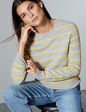 Pure Cashmere Spotted Jumper , YELLOW MIX, catlanding