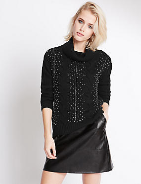 Polo Neck Long Sleeve Beaded Jumper