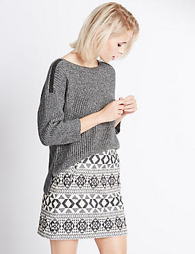 Lurex Shoulder 3/4 Sleeve Jumper