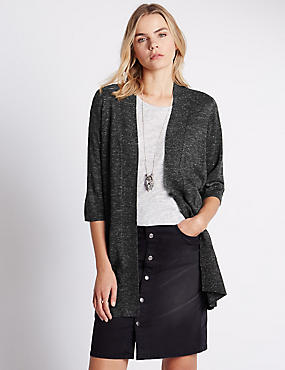 Loose Fit 3/4 Sleeve Open Front Cardigan