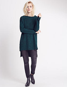 Stretch Yarn Dipped Hem Jumper