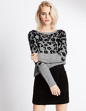 Fluffy Leopard Print Slash Neck Jumper