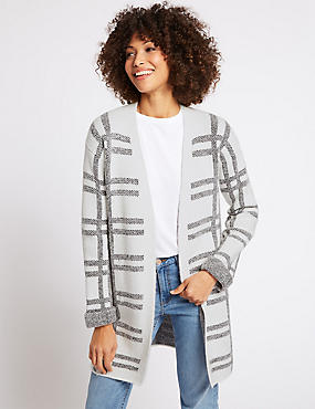 Checked Longline Open Front Cardigan , IVORY MIX, catlanding