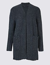Textured Open Front Long Sleeve Cardigan