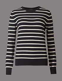 Pure Cashmere Striped Round Neck Jumper