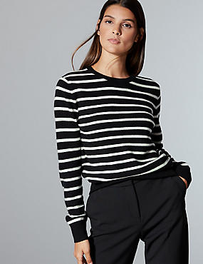 Pure Cashmere Striped Round Neck Jumper, BLACK MIX, catlanding
