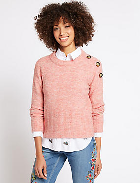 Button Shoulder Round Neck Jumper, LIGHT RASPBERRY, catlanding