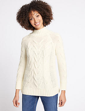 Textured Turtle Neck Long Sleeve Jumper