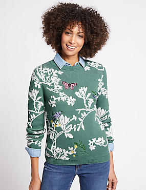 Cotton Rich Floral Print Round Neck Jumper