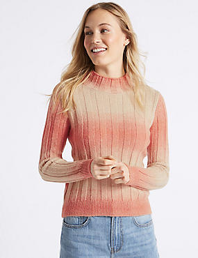 Textured Ombre Turtle Neck Jumper , PINK MIX, catlanding
