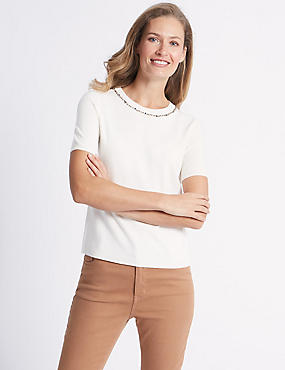 Embellished Round Neck Short Sleeve Jumper , CREAM, catlanding