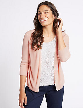 Lace Front Round Neck 3/4 Sleeve Cardigan