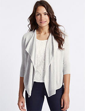 Lace Front 3/4 Sleeve Cardigan