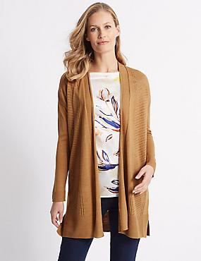 Longline Long Sleeve Cardigan with Linen, TAN, catlanding