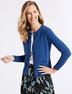 Long Sleeve Cardigan, BRIGHT BLUE, catlanding
