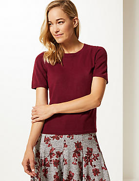 Round Neck Short Sleeve Jumper, DARK RED, catlanding