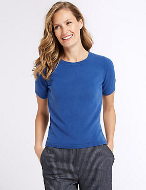 Round Neck Short Sleeve Jumper, BRIGHT BLUE, catlanding