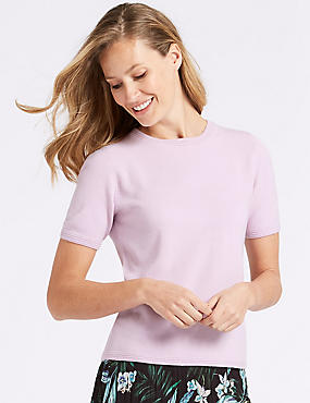 Round Neck Short Sleeve Jumper, LILAC, catlanding