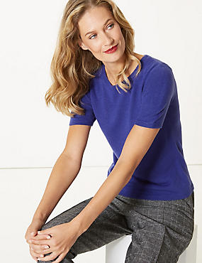 Round Neck Short Sleeve Jumper, INDIGO, catlanding