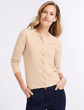 Textured Round Neck Cardigan, ALMOND, catlanding