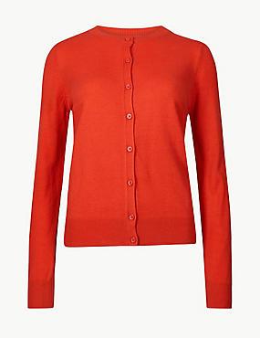 Textured Twinset Cardigan, BRIGHT RED, catlanding