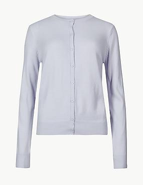 Textured Twinset Cardigan, PALE BLUE, catlanding