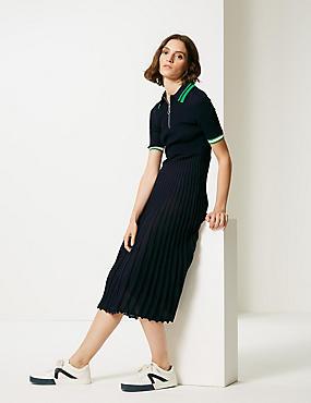 Textured Collared Neck Jumper Dress, NAVY, catlanding