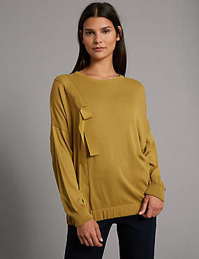 Ruche Round Neck Jumper