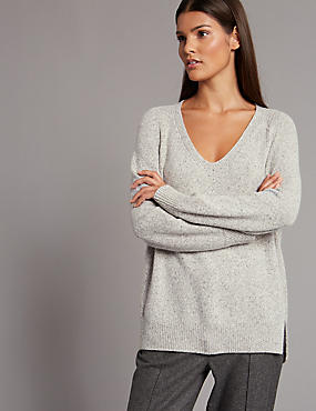 Wool Blend V-Neck Jumper
