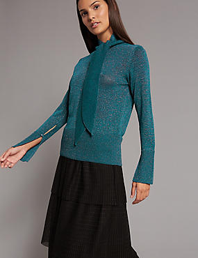 Lurex Tie Neck Jumper