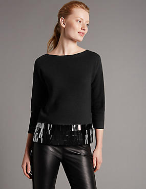 Slash Neck Sequin Hem Jumper with Wool