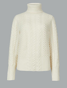 Textured Roll Neck Jumper, , catlanding
