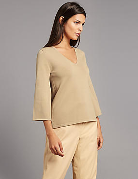 V-Neck Flared Sleeve Jumper